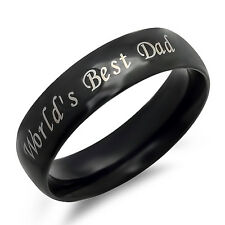 Personalized World's Best Dad Stainless Steel Black Ring - Free Engraving