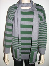 Elio Women Celinc Striped Sweater With Matching Scarf -Green & Gray