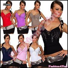 Sexy Women's Fitted Top Stretchy Ladies Summer Vest Top 8/10,12/14 Size UK
