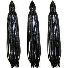 "5.5"" to 8.5"" Octopus Squid Hoochie Replacement Skirt - Black - 3 Pack"