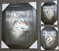 3 Dimension 3D 3 Change Lenticular Picture Wood Frame Gray Wolf Head Elegant