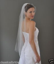 SET - 1 Tier 40 Inch Fingertip Veil & French Birdcage Blusher Veil Ivory / White