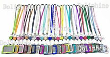 3 in 1 Rhinestone LANYARD with Retractable Reel and Horizontal ID Badge Holder