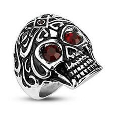 Stainless Steel Royal Tribe Red CZ Eyed with Small Gem on Top Skull (262)