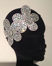 Diamante Crystal Rhinestone Double Flower Alice Hair Head Band Wedding Bridal