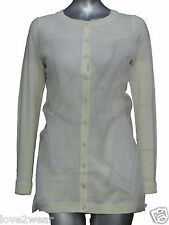 NEW Ladies Fine Knitted Cardigan Jumper Top Cream Mesh Front Women's Size 8 - 14