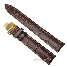 Gold Push Button Deployment Clasp Alligator Grain Leather Watch Band Strap Brown