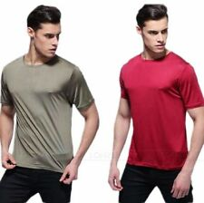 Mens 100% Silk Knitted T-Shirts Short Sleeve Shirts Casual-Tee S M L XL ●AF2231#