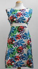 RETRO NEW VINTAGE 60s TWIGGY SCOOTER FLORAL MINI SHIFT DRESS SIZE 8 10 12 14