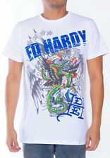 NEW Ed Hardy Men's White Short Sleeve Tee Shirt  - NYC Glove - RHINESTONES