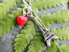 Paris France Necklace-  Eiffel tower charm & red heart on sterling silver chain