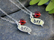 BFF sterling silver necklace set- set of two best friends text chat charm, heart