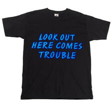 Childrens Kids Black Biker Slogan T-shirt - Look Out Here Comes Trouble Top