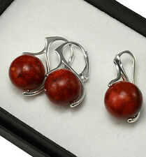 925 Sterling Silver Earrings Gemstone - Red Coral, Black Onyx, Quartz - 27mm