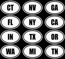 State Abbreviation Vinyl Car Window Decal Sticker 50 USA Euro Oval NY FL CA TX
