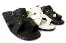 NEW MENS SHOES LEATHER SLIDES COMFORT FLAT TOE HOLD SANDALS-1153 / 3 COLOR
