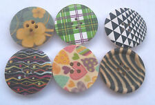 Buttons - patterned wooden 30mm diameter - pack of 2 - 6 designs available