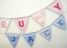 BUNTING - PERSONALISED FLAGS PINK LETTERS & FLOWER MOTIFS Make any name/message