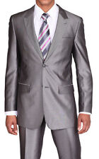 Wool feel suit , 2 button, slimm  cut,pic stitching, by Milan Moda