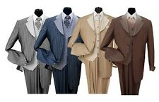 Men's 3 piece Luxurious Classic Gangster Pinstripe Wool Feel Suit 2911v Milano