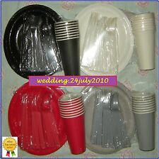 ★ 48 PIECE PARTY PICNIC PAPER CUPS PLATES PLASTIC CUTLERY 8x6 TABLEWARE PACK SET