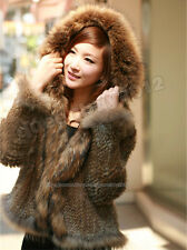 New! 100% Real Knitted Rabbit Fur Coat Knit Jacket Outwear Hoody Fashion Vintage