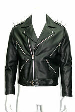 GHOST RIDER WITH SPIKE MENS RETRO MOTORCYCLE GHOTIC BLACK  HIDE LEATHER JACKET