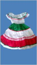 Cinco de Mayo Handmade in Mexico Tri-Color Skirt & Peasant Top Child Size 4 Girl