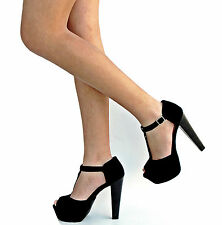 New Women OBr Black T-Strap Peep Toe Platform Sandal Heels sz 5.5 to 11