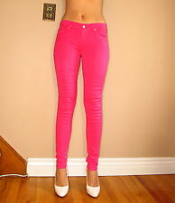 $189 Seven 7 For All Mankind Skinny Jeans Leggings Hot Pink Leather-Look Waxed