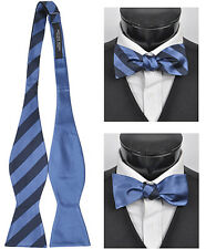 Woven Silk College Stripe Reversible Self-Tie Bow Tie (FRBS1020)