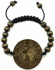 World Bracelet New Good Wood Style Adjustable Pull Cords Macrame 10mm Wood Beads