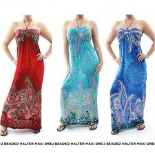 New Womens Maxi Dress Ladies Boho Sleeveless Casual Multi-Color Sundress M L XL