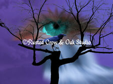 Teal Eye Black Crow Bird Tree Purple Fantasy Art Home Decor Matted Picture A405