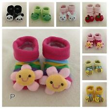 BABY GIRLS BOYS NON-SLIP SOCKS COTTON BOOTIES SHOES SLIPPERS NEWBORN TODDLER -3D