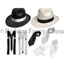 DELUXE ADULT GANGSTER 1920'S FANCY DRESS PIMP TRILBY SPATS BRACES TIE MOBSTER