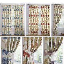 CHELSEA floral pencil pleat lined curtains cream terracotta blue heather *SALE*