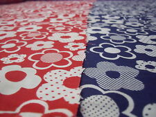 NAVY & RED FUNKY FLORAL LARGE FLOWERS COTTON POLY FABRIC SPRING MEADOW FLOWERS