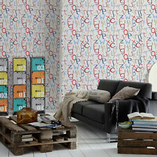 'Grafitti Alphabet' Letter Motif Children's wallpaper in White, Red Blue & Beige