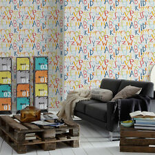 'Grafitti Alphabet' Letter Motif Children's wallpaper in White, Orange & Green