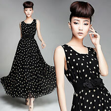 WOMEN'S SEXY MAXI LONG POLKA DOT CASUAL SLEEVELESS CHIFFON VINTAGE EVENING DRESS