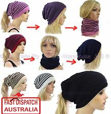 Knitted Unisex Ladies Men Beret Baggie Baggy Rasta Beanie Hat Snood REVERSIBLE