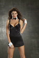 Escante Sexy Satin Lycra Dress with Cuffs and Collar Bow
