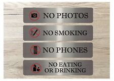 LARGE VITAL SIGNS No smoking eating phones photos litter recycling metal plaques