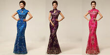 New china cheongsam lace gown/patty/wedding/evening long dress 3 colors