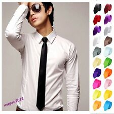 Handsome Men's Skinny Solid Color Plain Silk  Party wedding Tie Necktie Classic