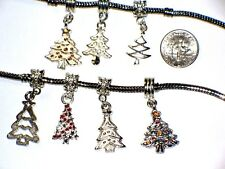 WHITE OR SILVER CHRISTMAS TREE CHARM FITS EUROPEAN BRACELETS - BUY 3 GET 1 FREE
