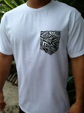 New Mens Premium Tee T Shirt Animal Print Zebra Pocket Skater Obey Urban Cheetah