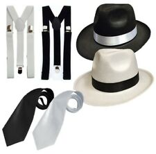 GANGSTER HAT TIE & BRACES SET FELT TRILBY AL CAPONE FANCY DRESS PARTY 1920's