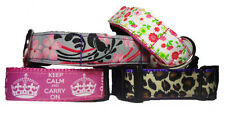 Keep Calm, Carry On Dog Collar OR Lead - Polka Dot and Floral. Handmade in UK